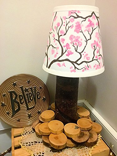 Real Log Table Lamp with Wood Slice Base and Hand Painted Lamp Shade ( ONE OF A KIND!) (Base Lamp Painted Hand)