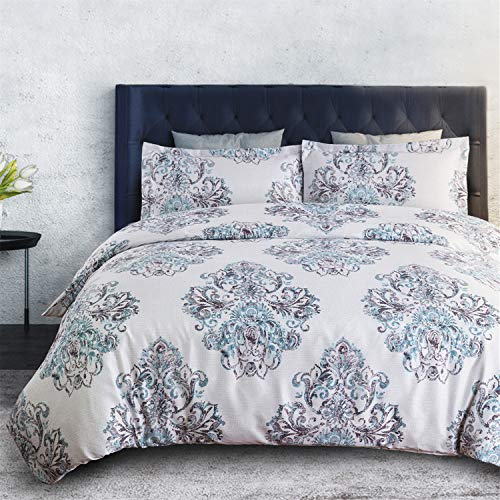 Bedsure Duvet Cover Set with Zipper Closure-Damask Print Grey Reversible Design,Full/Queen (90x90 inches)-3 Pieces (1 Duvet Cover + 2 Pillow Shams)-Ultra Soft Microfiber (Duvet Purple White Cover And)