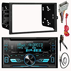 "Kenwood DPX302U Double 2 Din CD MP3 Car Stereo Receiver Bundle Combo With Metra installation kit for car stereo (Fits Most GM Vehicles) + Wire Harness + Enrock 22"" Radio Antenna With Adapter"