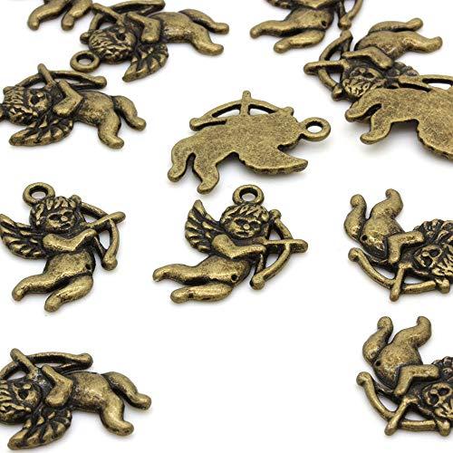 Beads Unlimited Cherub Charm, Metal Antique Gold, 22x18mm - Metal Charms Cherub