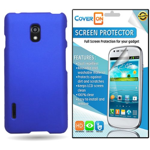 CoverON LG Optimus F7 Hard Rubberized Slim Case Cover Bundle with Clear Anti-Glare LCD Screen Protector - Blue