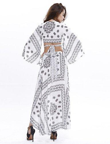 PU&PU Robe Aux femmes Soirée / Décontracté , Imprimé Col en V Maxi Coton , multi-color-s , multi-color-s