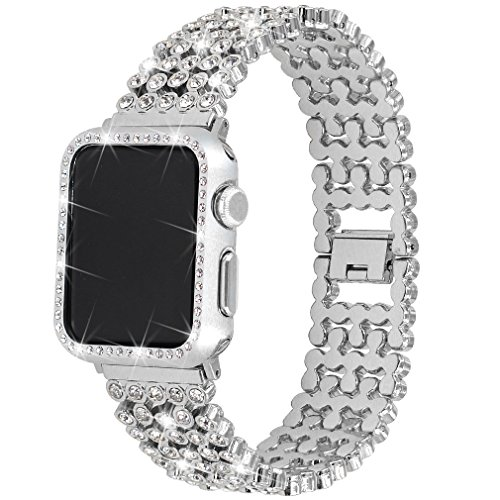 Rhinestones Bands with Diamond Face Cover for Women Men, Falandi Bling Stainless Steel Replacement Wristband for Apple Watch Series 3, Series 2, Series 1, iWatch Nike+ Sport Edition (Silver, 42mm) (Diamond Band Watch)