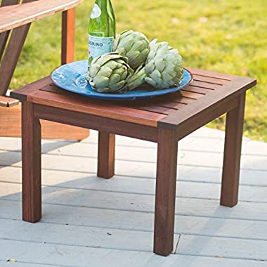 Richmond Deluxe Small Portable Outdoor Square 15 inch Patio Furniture Red shorea wood Side End Table