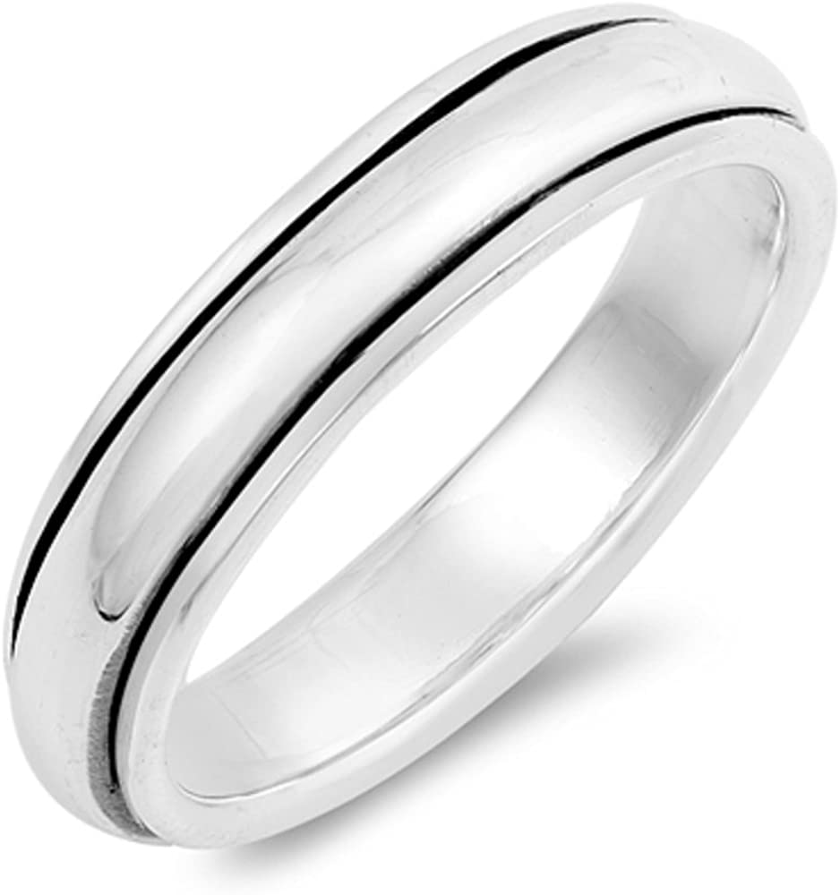 CloseoutWarehouse Oxidized Sterling Silver Simple Spinner Ring