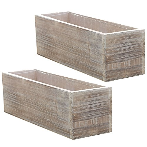 Country Charm Candle (Wood Planter Box Set, Rustic Whitewash, Country House Charm, Plastic Liners, Long Rectangle, 12 x 4 Inch, Wedding Decor and Floral Arrangements, Natural Centerpiece, Wooden (Beige), (Set of 2))