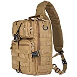 Hikingworld 20L Small Tactical MOLLE Sling Pack – Compact and Versatile – Shoulder Pack, Backpack, Chest Pack, or Hand Carry – Military Assault Style Rucksack. (KHAKI)