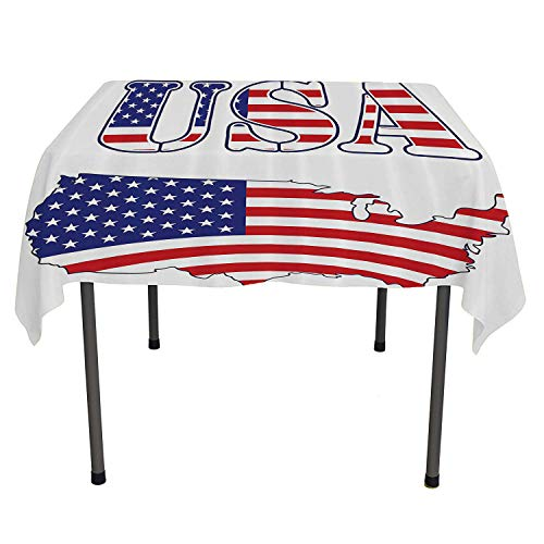Americana Decor Collection Printed Tablecloth USA Map Flag Stars Stripes Washington National Symbol History American Style All Weather Outdoor Table Cloth Spring/Summer/Party/Picnic 60 by 60 ()