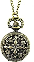YouYouPifa Bronze Flowers Hollow Design Fashion Retro Small Pocket Watch (Bronze/Four Flower#1)