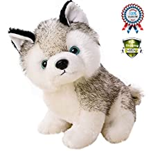 """Realistic Stuffed Animal Husky Dog For 3+ Yrs Baby Kids Adults(7""""H),Cute Small Plush Animals Husky Puppy Soft Plushie Huskys American Doll Use For Birthday Gift,Home,Bed, Closet Decoration"""