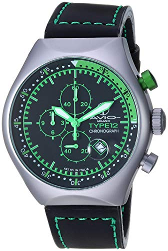 Men's 45 MM TP Green Aluminum Case Black and Green Dial Chronograph Tachymeter Date Watch