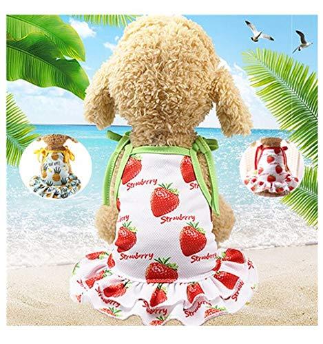 Dog Dress,Hawai summer Thin Cute Floral Princess Ribbon