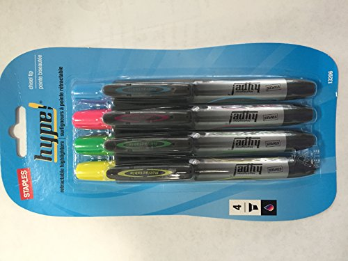 Staples Hype! Set of 4 Chisel Tip Retractable Highlighters