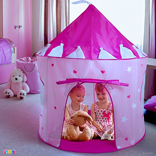 Play22 Play Tent Princess Castle Pink - Kids Tent Features Glow in The Dark Stars - Portable Kids Play Tent - Kids Pop Up Tent Foldable Into A Carrying Bag - Indoor and Outdoor Use - Original by Play22 (Image #2)