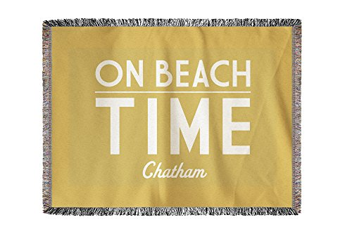 Lantern Press Chatham, Massachusetts - On Beach Time - Yellow - Simply Said (60x80 Woven Chenille Yarn Blanket)