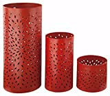 Ashley Furniture Signature Design - Caelan Metal Candle Holder Set - 3 Pieces - Assorted Sizes - Contemporary - Orange