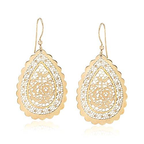 Ross-Simons Italian 18kt Yellow Gold Floral Openwork Teardrop Earrings