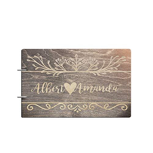 Engraved Book Guest (Bride and Groom Personalized Handmade Wedding Guest Book for Bride and Groom Wood Alternative Custom Engraved Newlywed Marriage Album 10 Designs to Choose from (Design 02, Black Walnut))