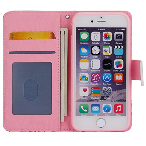 Carcasa iPhone 6 Plus, EUWLY Apple iPhone 6s Plus Funda de Piel Sintética Flip Cover Case Moda Elegante PU Cuero Estuche Estilo Libro Funda con Tapa Colores Pintado Impresión Diseño Carcasas Caso con  Flamenco Rojo