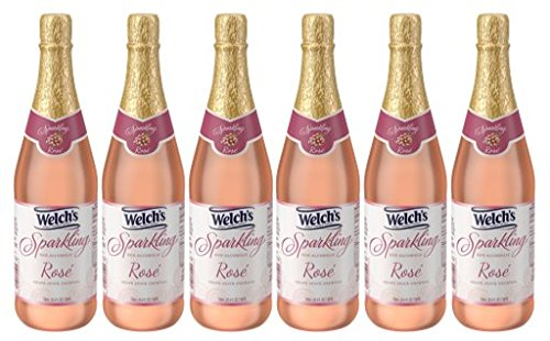Welch's Sparkling Rosé Juice Cocktail, Non-Alcoholic, 25.4 Ounce Bottles (Pack of 6)