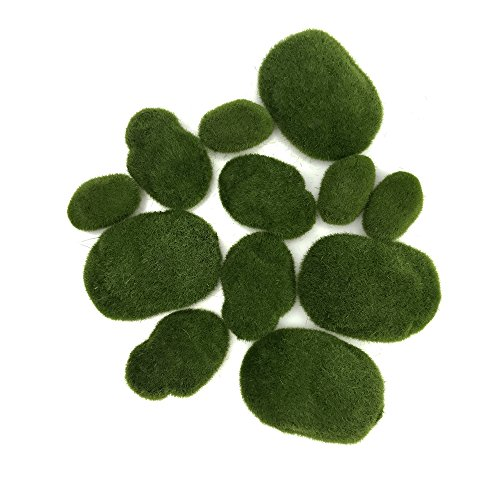 Set of 12 Assorted Size Green Artificial Moss Rocks Decorative Faux Fuzzy Moss Cover Stones for Floral Arrangements Vases Fillers and Crafting