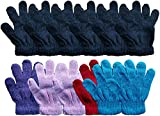 Yacht & Smith 12 Pairs Of Kids Solid Color Winter Warm Strechable Magic Gloves