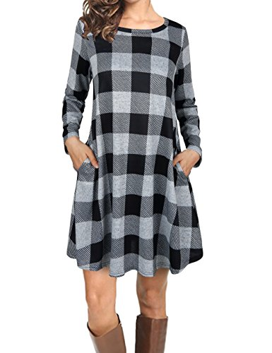 FANSIC Casual Dress Long Sleeve, Women Simple Plaid T-Shirt Loose Dress With Pockets X-Large Black and Gray