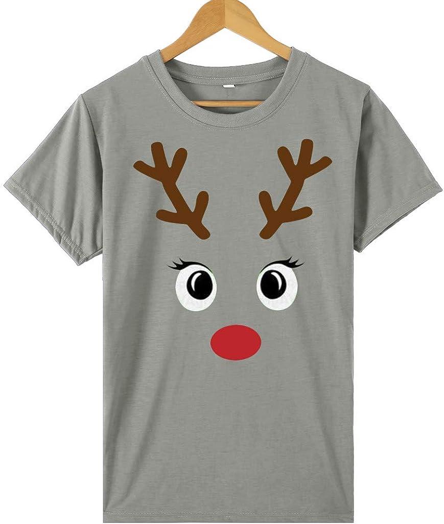 Juner Christmas Shirt Womens Letter Printed O Neck Short Sleeve Holiday T-Shirts