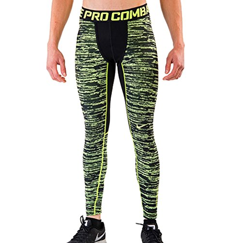 (Nike Men's Pro Combat Hyperwarm Dri-Fit Max Compression Camo Tight, Black/Volt, XL X 28)