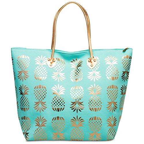 CASPAR TS1060 XL Bolso de Playa para Mujer/Bolso de Mano Shopper con Piñas Metalizadas Turquesa
