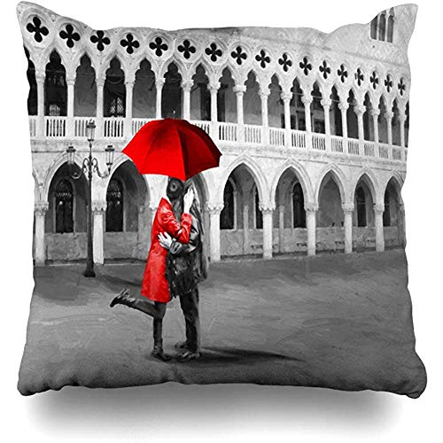 Decorative Throw Pillow Cover City Red Oil San Marco Black White Happy Colour Painting Couple Love Family Kiss Affection Girlfriend Home Decor Pillowcase Square 18