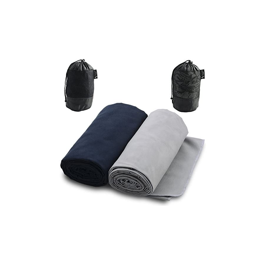 The Friendly Swede Microfiber Towels for Sports, Travel, Swim, Hiking and Camping, 2 pack, Ultralight and Quick Drying Towels