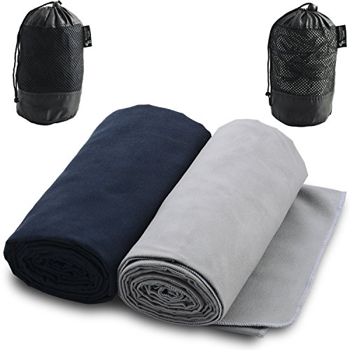 Microfiber Towels for Sports, Travel, Swim, Hiking and Camping, 2-pack, Ultralight and Quick Drying Towels by The Friendly Swede