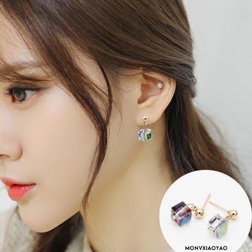 (Korean version of sweet fresh students of color geometric square spiral earrings women without pierced ear clip earrings earrings fake)