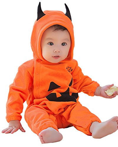 Kidsform Unisex Baby Halloween Pumpkin Costume Romper Bodysuit Overalls Outfits Set With Hat Style 5 (Halloween Costumes For Cold Weather)