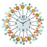 NEOTEND 3D Wall Clock Natural Seashells Decorative Silent Large Clock Diameter 23.6'' Style 1