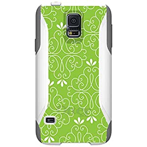 CUSTOM White OtterBox Commuter Series Case for Samsung Galaxy S5 - Lime Green White Floral