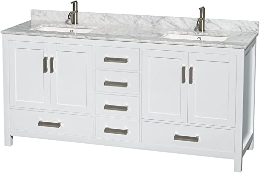 Wyndham Collection Sheffield 72 Inch Double Bathroom Vanity In White White Carrara Marble Countertop Undermount Square Sinks And No Mirror Amazon Com