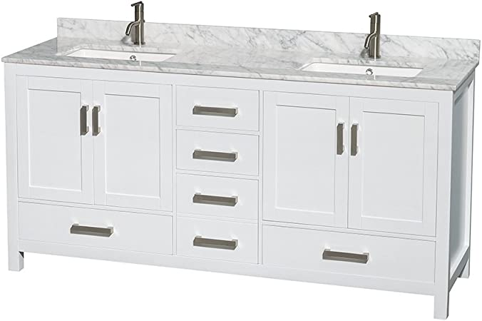 Wyndham Collection Sheffield 72 Inch Double Bathroom Vanity In