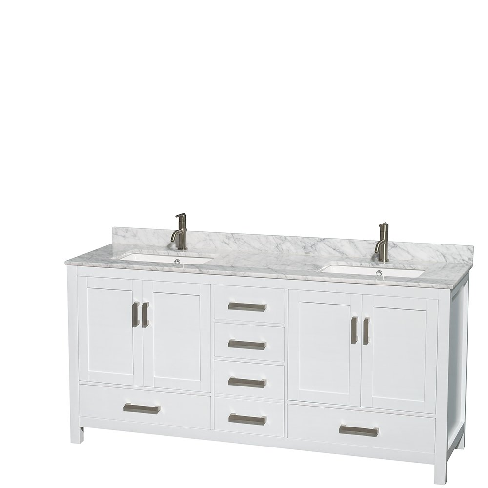 Vinnova 723036-WH-CA-NM Gela 36 Single Vanity Carrera White Marble Top Without Mirror