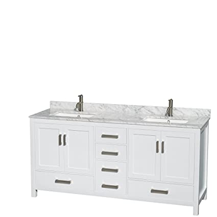 Superb Wyndham Collection Sheffield 72 Inch Double Bathroom Vanity In White, White  Carrera Marble Countertop,