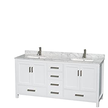 Great Wyndham Collection Sheffield 72 Inch Double Bathroom Vanity In White, White  Carrera Marble Countertop,
