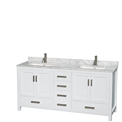 Captivating Wyndham Collection Sheffield 72 Inch Double Bathroom Vanity In White, White  Carrera Marble Countertop,