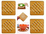 "Weikai Bamboo Trivet Mat Set, Heavy Duty Hot Pot Holder Pads Coasters, Perfect for Modern Home Kitchen Decor, Set of 4, 7"" Square"