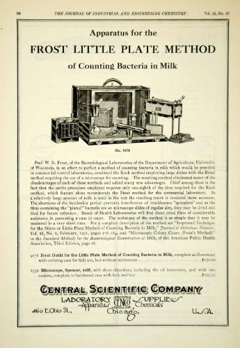 1922 Ad Central Scientific Frost Little Plate Outfit Microscope Lab Equipment - Original Print Ad