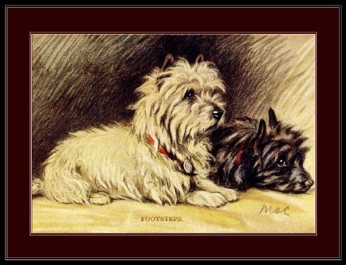 Dog Terrier Cairn Art (A SLICE IN TIME Cairn Terrier Puppy Dog Puppies Dogs Footsteps Vintage Art Poster Print. Measures 10 x 13 inches.)