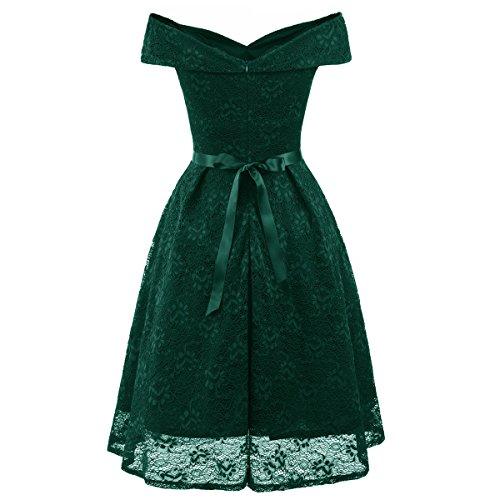 Sexy Noeud Swing Robe Soire Dentelle Haute Robe Femmes De De Vintage pour Boheme Hors L'paule Green Taille rrwqzUY