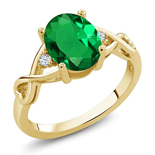 Gem Stone King 1.55 Ct Oval Green Simulated Emerald White Topaz 18K Yellow Gold Plated Silver Ring (Size 9) ()