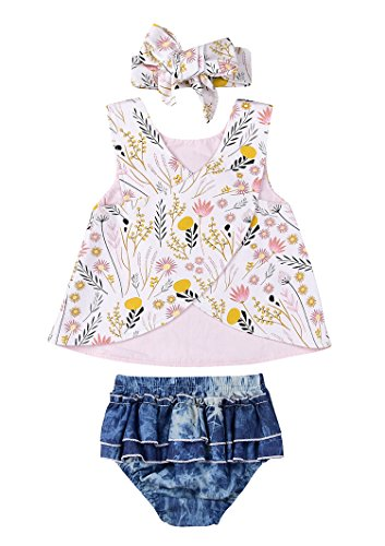 White Ruffled Top Outfit (IWOKA 3pcs Baby Girls Floral Cross Shirt+Ruffled Denim Short Pants+Headband Outfit Set (80(6-12M), White))