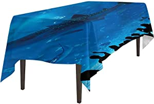 """Aishare Store Outdoor Tablecloth, Shark Aquarium Park and People, Tablecloth for Dinner Party, 52"""" x 70"""""""